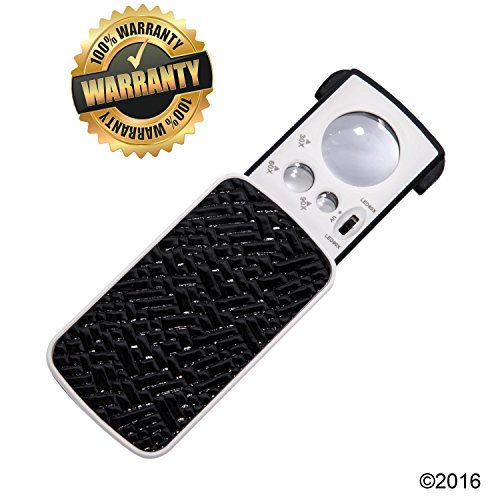 LED AND UV Lighted Pocket Magnifier ,Powerful 30x/60x/90x magnification,PREMIUM LOUPE | Best for Jewelry,Electronic Parts,Hobbies,Coins,Gems,Geology,Low Vision Reading,Document - Vision Value Coupons