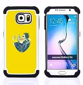 BullDog Case - FOR/Samsung Galaxy S6 G9200 / - / YELLOW SKULL BRIDE LOVE SPRING FUNNY /- H??brido Heavy Duty caja del tel??fono protector din??mico - silicona suave