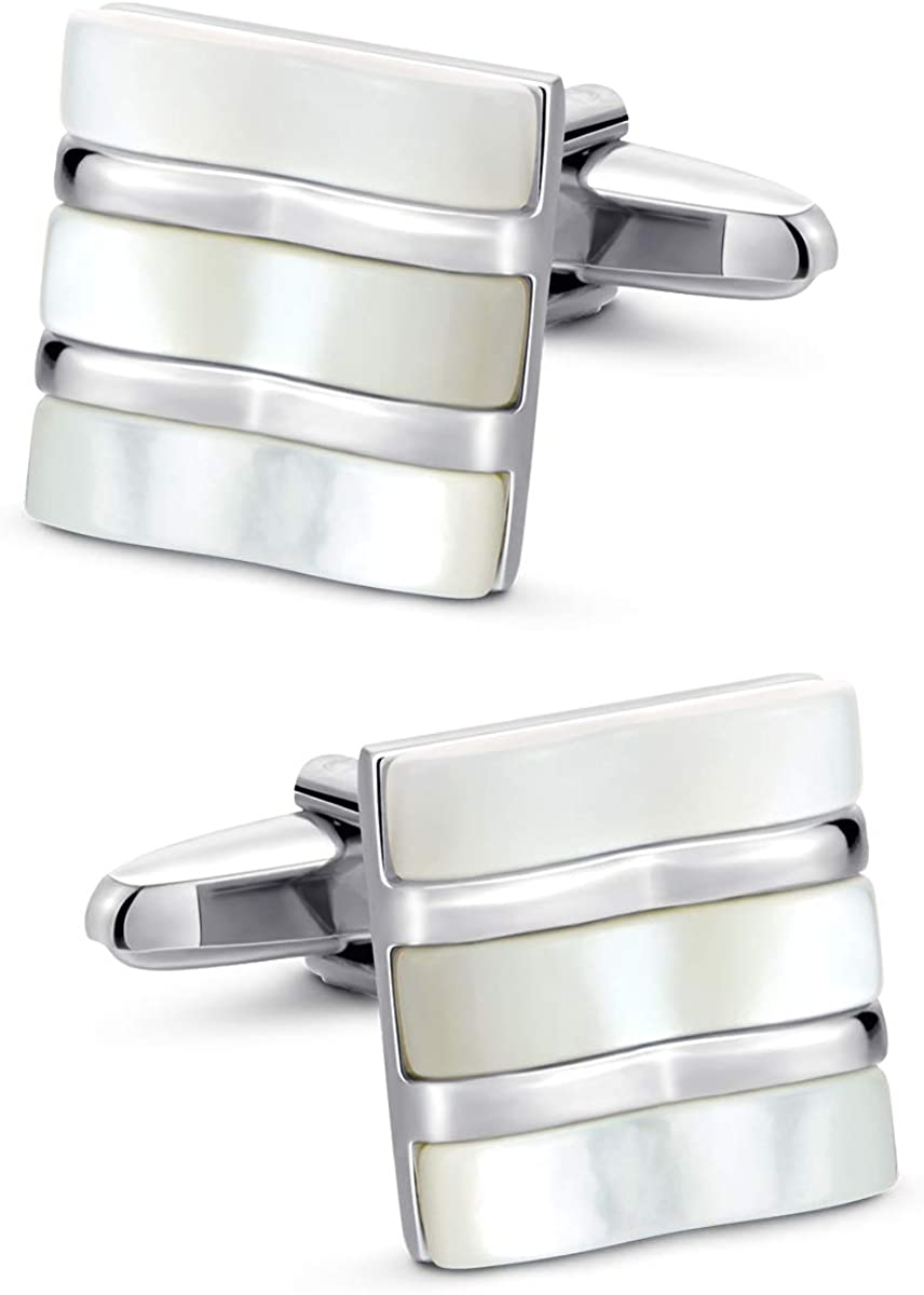 VIILOCK Fancy White Mother of Pearl Cufflinks for Men Square Jade Cuff Links Wedding Gift