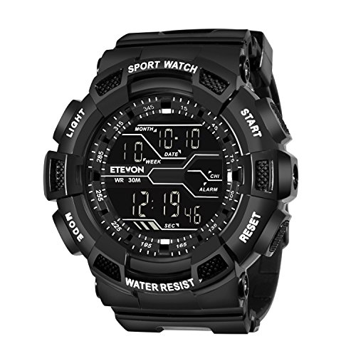 ETEVON Men's Large Dial Sport Digital Watch Military Multifunction - EL Backlight - 30M Waterproof - Hourly Chime - Split Time Electronic with Stopwatch Alarm Wrist Watches for Men - Polished Black