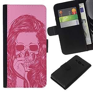 Planetar® Modelo colorido cuero carpeta tirón caso cubierta piel Holster Funda protección Para Samsung Galaxy A3 / SM-A300 ( Girl Vignette Pink Art Hair Skull )