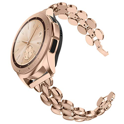 TOYOUTHS Compatible with Samsung Galaxy Watch 42mm Bands Women Stainless Steel Bracelet Replacement for Galaxy Active 2 40mm 44mm/Gear S2 Classic/Gear Sport Metal Strap Wristband 20mm Pins Rose Gold