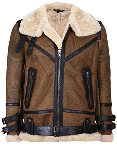 Mens Brown Vintage Pilot B3 Sheepskin Flying Leather Jacket ...