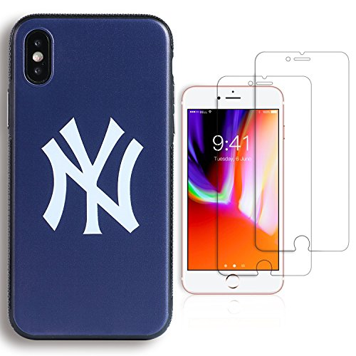 """Sportula MLB New York Yankees Phone Case, for iPhone X 2017, matching 2 Premium Screen Protectors Extra Value Set - for iPhone X (5.8"""") (York Iphone New)"""