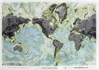 "American Educational Bathymetric Map, 38"" Length x 50"" Width"