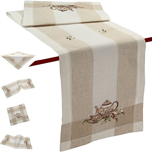 Quinnyshop Dottet Teapot Flower Spring Embroidery Tablecloth Table runner approx. 16-inch-by-34-inch/ 40 x 85 cm Half-Linen, -
