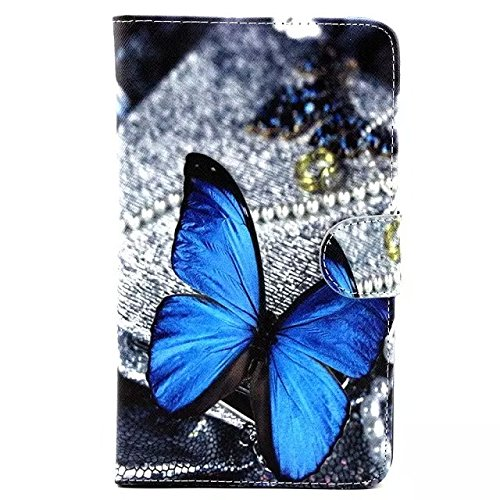 Tab 4 7.0 T230 Case,Fashion Blue Butterfly Pattern - Galaxy 3 Tablet Case 7 Inch Bling