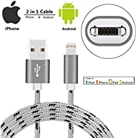iPhone Lightning Cable / Micro USB Dual Charging Cable,SzHahn 2 in 1 Braided Charger Cable for iPhone 7 7 Plus 6 6S Plus / iPad / Samsung Galaxy S7 / S6 / S7 Edge / S6 Edge and More (3.28ft Gray)