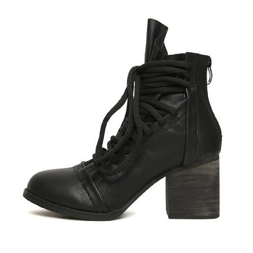 Hanxue Womens Platform Chunky High Heel Fashion Lace Up Martin Boots Black