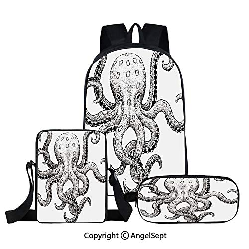 Fashion Backpack Set for School 3 in 1,Sketch Style Print of Deadly Blue Ringed Octopus Camouflage Marine Animal Aquatic Decor,Ecru Black,Three-piece Bag With Crossbody Pencil Bag