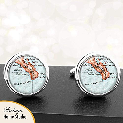 Mexico Map Cufflinks Cabo San Lucas Baja Peninsula Mexico Map Cufflinks Handmade Cuff Links Antique Maps ()