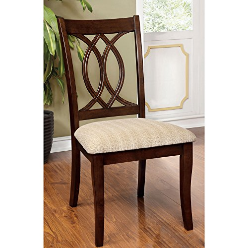 Cerille Elegant Brown Cherry Dining Chairs (Set of 2)