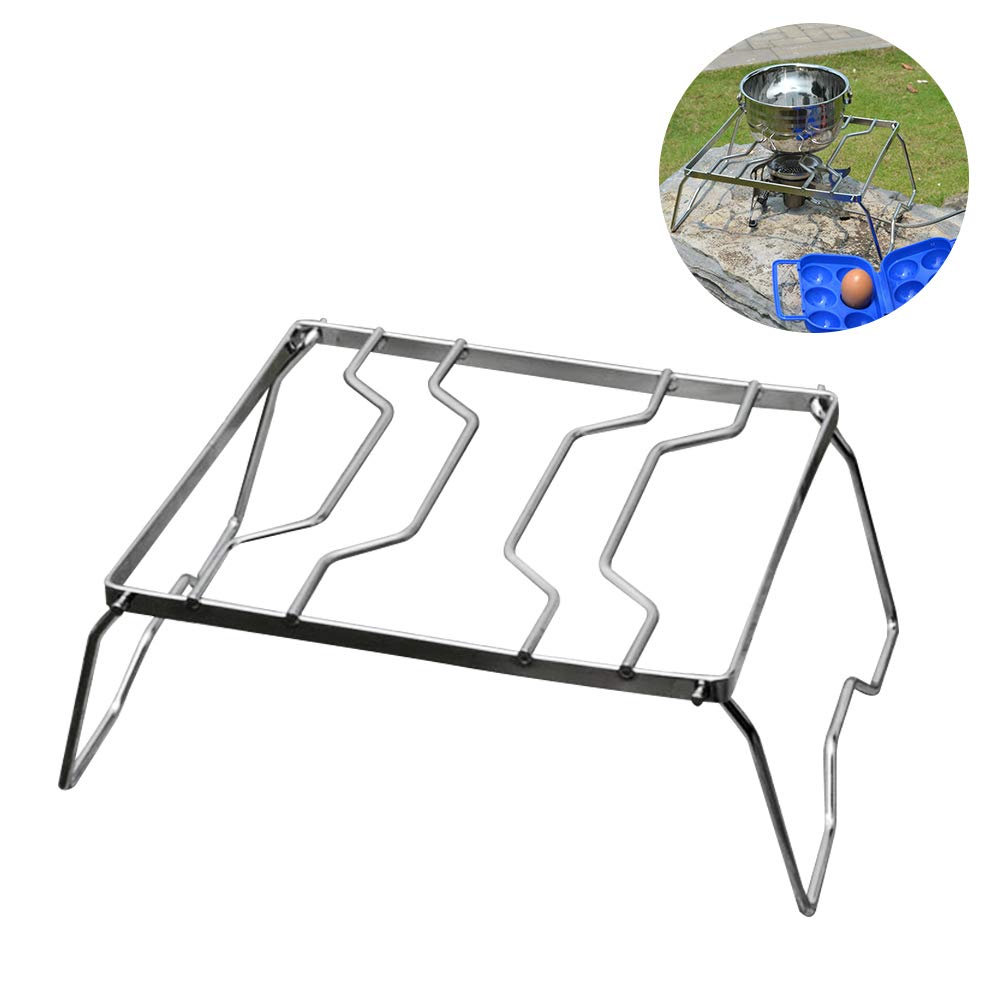 Outdoor Burner Bracket, Stainless Steel Picnic Pot Holder Multifunctional Foldable Camping Grill Strong Load Capacity, Suitable for Hold Various Kinds of Pot, Outdoor Supplies(Silver)