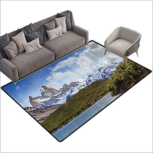 Long Kitchen Mat Bath Carpet Americana Landscape Decor,South Argentinean Alps Cold Snow Tops Lake Travel Climbing Theme,Green Blue 60