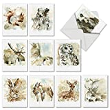 M6629TYG Watercolor Wildlife: 10 Assorted Thank You Note Cards Featuring Dynamic Watercolor Images of Animals of the American Landscape, w/White Envelopes.