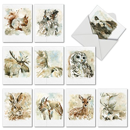 (10 Watercolor Wildlife Blank Note Cards with Envelopes 4 x 5.12 inch - Assorted Greeting Cards with Watercolored Illustrations of Animals for All Occasions M6629OCBsl - NobleWorks)