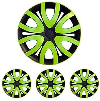 Tapacubos – Tapacubos Tapacubos Mica bicolor verde 15 pulgadas 15 R15 universal apto para casi