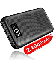Portable Charger Power Bank 24000mAh - High Capacity with LCD Digital Display,3 USB Output & Dual Input External Battery Pack Compatible with Smart Phones,Android Phone,Tablet and More