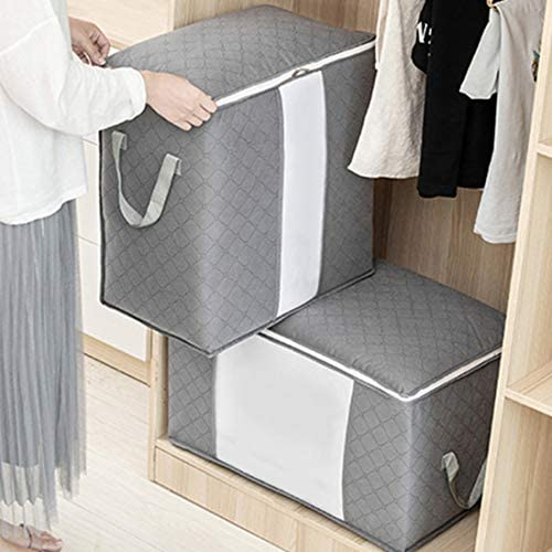 JUPAI Large Capacity Storage Bag Container Multized Duvet Comforter Closet Organizations Breathable Household Home Storage Bins with Clear Window, 3 Pack, Grey (3 Pack Horizontal)