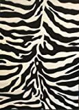 Modern Area Rug Sculpted Zebra Print 8 Ft. X 10 Ft. 6 In. Design # S245 Black