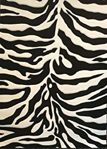 Modern Area Rug Sculpted Zebra Print 8 Ft. X 10 Ft. 6 In. Design # S245 Black