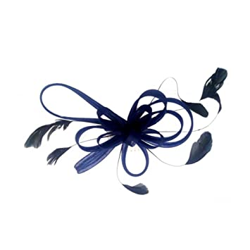 Amazon.com   Navy Coiled Looped Bow and Feathers Hair Comb ... 561c08a6f3e