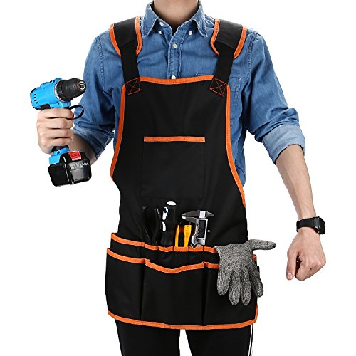 OCGIG Professional Canvas Work Apron with 16 Tool Pockets Tool Apron Adjustable Size Protective and Waterproof by OCGIG