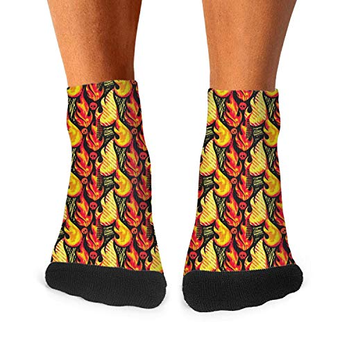 Funny hot flames seamless pattern vector skull red black Fashion Men's Sporty Wicking Cotton socks -