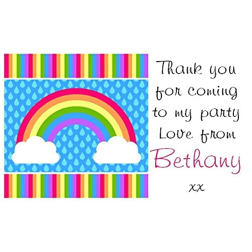 21 x PERSONALISED party bag labels/stickers - Rainbow