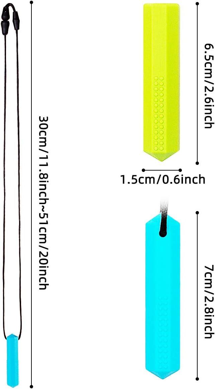 Yuccer 2 Piezas Collar Denticion Bebe con 2 Piezas Topper Lapiz Collar Masticable Silicona para Autismo Collar Mordedor Bebe ADHD Azul, Rojo Collar + Verde, Naranja Topper Lapiz Oral Motor