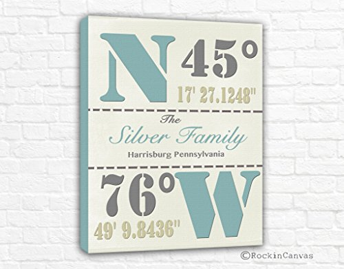 Rockin Canvas House warming Gift, Family Latitude Longitude, Coordinates, GPS Coordinates Sign, Personalized Latitude and Longitude, Location Sign (Susan Art Deco Print)