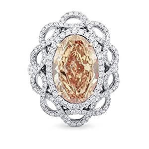 8.42Cts Orange Diamond Engagement Ring Set in 18K Size 6