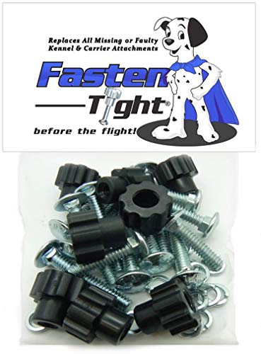 Pet Carrier Kennel Fasteners – 8pk Black Nylon Nuts, Metal Bolt Screws