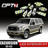 OPT7 12pc Interior LED Replacement Light Bulbs Package Set for 00-05 Ford Excursion | White