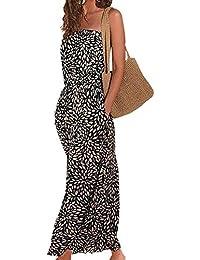 Womens Beach Dress Printed Maxi Dress Long Strapless Retro Summer Dress