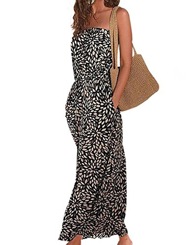 Women's Beach Dress Printed Maix Dress Long Strapless Retro Summer Dress (M)