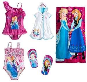 Disney Store Frozen Swim Set: 2 Swimsuits/Cover-Up/Flip-Flops/Towel Size Medium