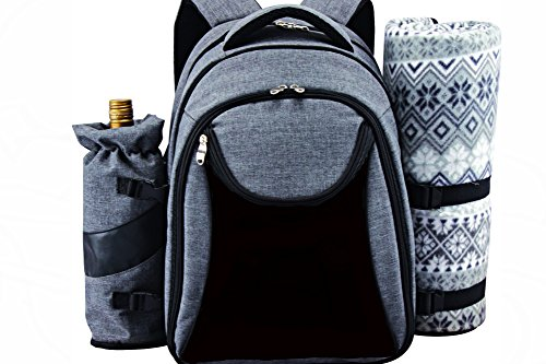 Scuddles Picnic BackPack Basket Cooler Insulated Lunch Bag Tote | Waterproof Set For Camping Marine Travel | includes Tableware Set For Wine Water Beer Food Outdoor (Picnic backpack)