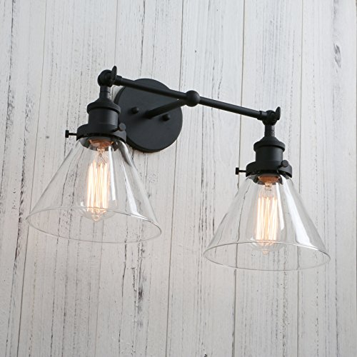 Permo Vintage Industrial Antique 2-Lights Wall Sconces with Dual Funnel Clear Glass Shade (Black) by PERMO (Image #3)