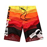 NUWFOR Men's Fashion Casual Printing Patchwork Beach Surfing Swimming Loose Short Pants(Red,US S Waist:30.7'')