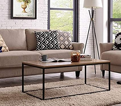 Accent Modern Coffee Table in Living Room Rectangular Industrial Style with  Black Metal Box Frame Sofa Solid Wood Table Top