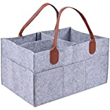 Large Baby Diaper Caddy,One of The Lightest and Sturdiest Storage Bins with Changeble Compartments. Portable and Foldable Organizer/Stacker - Home , Car & Nursery Organizer for Diapers and Baby Wipes