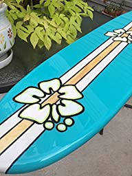 Four foot surfboard wall hanging. Sea breeze with hibiscus.