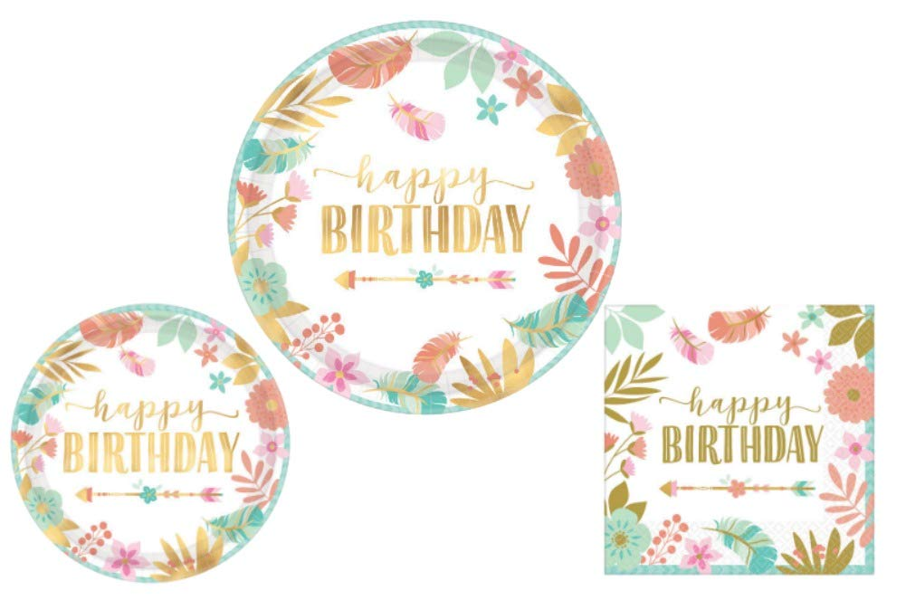 Boho Birthday Girl Party Supplies - Bundle Includes Dinner Plates, Dessert Plates, and Napkins for 8 Guests in a Bohemian, Tribal Design
