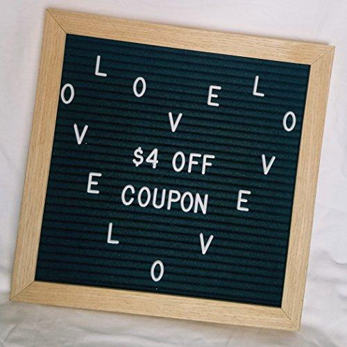Changeable Black Felt Letter Board Set- 10 x 10 in. Oak Framed Message, Menu, Photo prop Board- 290 White Plastic Letters, Numbers, Punctuation, Symbols & Black velvet drawstring letter bag