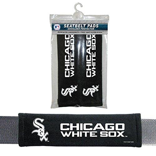 MLB Chicago White Sox Seat Belt Pad (Pack of 2), One Size, White (Seat Cushion Chicago White Sox)