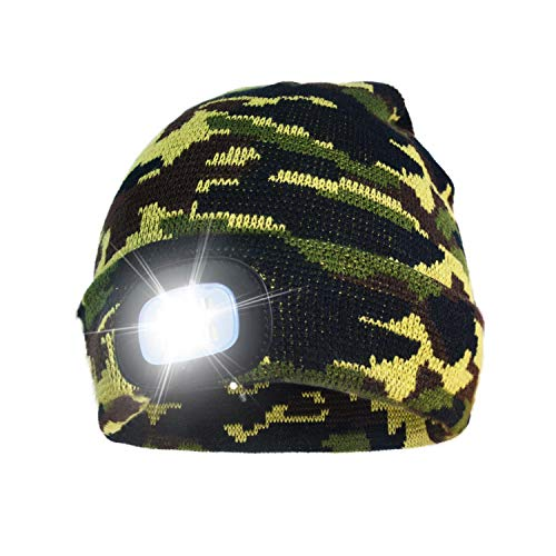 A.S Unisex Rechargeable 4 LED Knitted Beanie Hat for Camping, Fishing, Grilling, Auto Repair, Jogging, Walking, or Handyman Working, Hands Free Led Beanie Cap Extremely Bright (Green Camouflage)