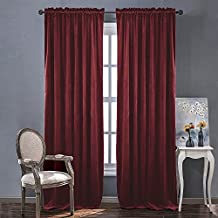 Velvet Textured Blackout Curtains /Drapes - Ruby Red Curtains for Holiday Season Home Decoration by NICETOWN (One Panel, 84 inch Long)