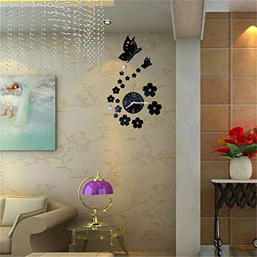 Fhing Hot Wall Stickers Home Decoration DIY Acrylic Mirror Butterfly Wall Clock Watch Quartz Needle Modern