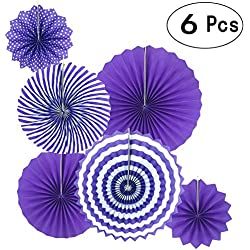 Lavender Purple Round Hanging Paper Fans Decorations Engagement Wedding Bridal Baby Shower Birthday Party Fans Decorations, 6pc